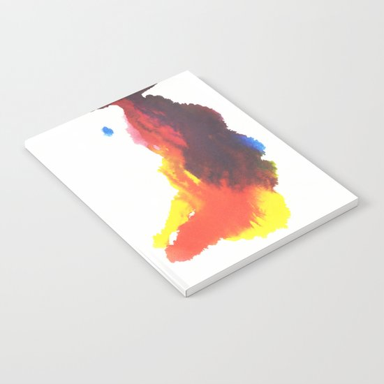 Yellow, Red, Blue, Purple Watercolor Plume on White Notebook