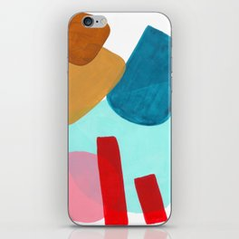Minimalist Abstract Fun MidCentury Colorful Shapes Teal Blue Pastel Red pink Geometric Organic Shape iPhone Skin