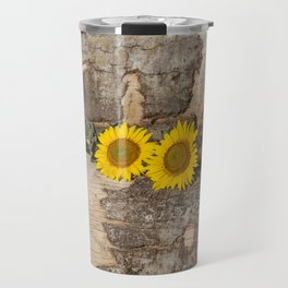 Sunflowers in wood Travel Mug