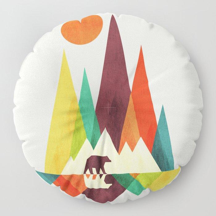 Bear In Whimsical Wild Floor Pillow