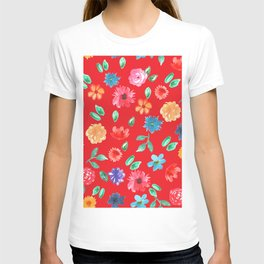 Watercolor cornflower forget-me-not, rose peony green leaves Seamless pattern on red background T-shirt