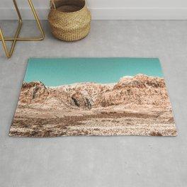 Mojave Red Rocks // Desert Landscape Cactus Mountain Range Teal Blue Skyline Rug