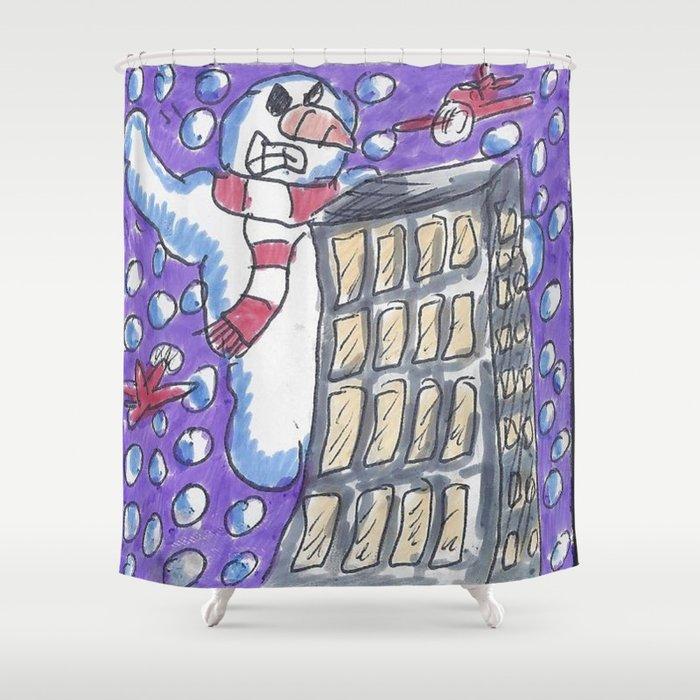 Christmas #14 Snow Kong Shower Curtain