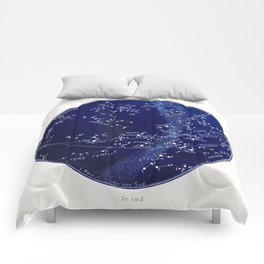 French March Star Map in Deep Navy & Black, Astronomy, Constellation, Celestial Comforters