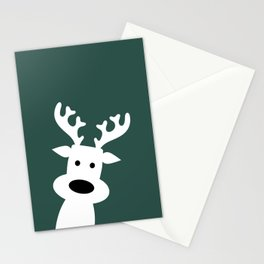 Reindeer on green background Stationery Cards