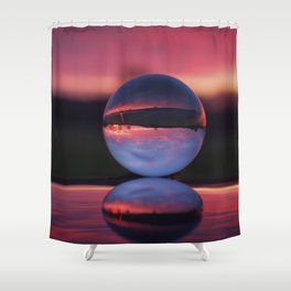 Sunrise in the countryside captured in a sphere. Shower Curtain