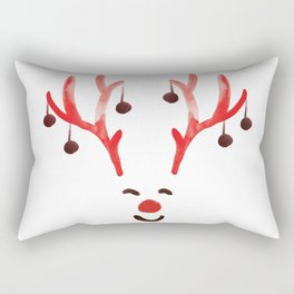 Rudy Red nose, Rudolf Reindeer, Xmas Santa Christmas watercolor designs Rectangular Pillow