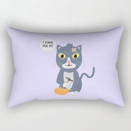 Construction Worker Cat Rectangular Pillow