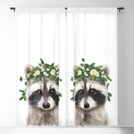 Baby Raccoon With Flower Crown, Baby Animals Art Print By Synplus Blackout Curtain