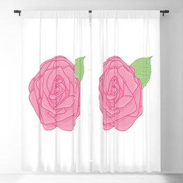 Pink Rose with Leaf Illustration Blackout Curtain