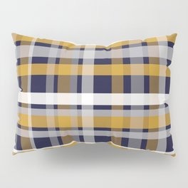 Modern Retro Plaid in Mustard Yellow, White, Navy Blue, and Grey Pillow Sham