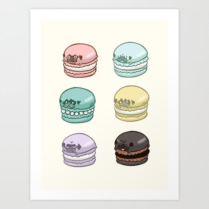 Pug Macarons Art Print
