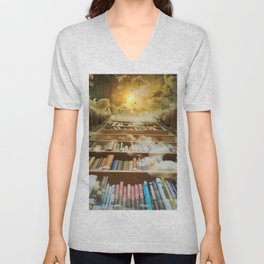 Library of books to heaven surreal portrait Unisex V-Neck