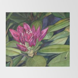 Rhododendron Bud Throw Blanket