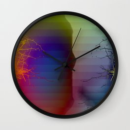 Branching Into Colored Darkness Wall Clock