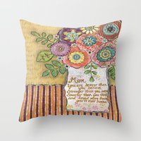 mom Throw Pillows featuring Mom by Jamie Morath Art
