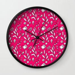 LotteZ' purse items doodle print (magenta) Wall Clock