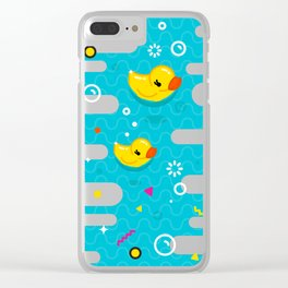 Rubber Ducky Party Time Clear iPhone Case