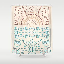 Boho Sun and Waves Abstract Design Shower Curtain