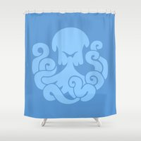 bioshock infinite Shower Curtains featuring Bioshock Infinite Vigors - Undertow by GunnerGrump