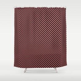 Dusty Cedar and Black Polka Dots Shower Curtain