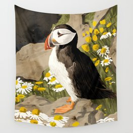 Puffin, Wildlife Birds Animals, Quirky Eclectic Tropical Nature Jungle, Forest Bohemian Painting Wall Tapestry