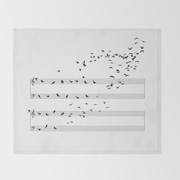 Natural Musical Notes Throw Blanket