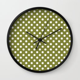 Olive Green and White Polka Dot Pattern Wall Clock