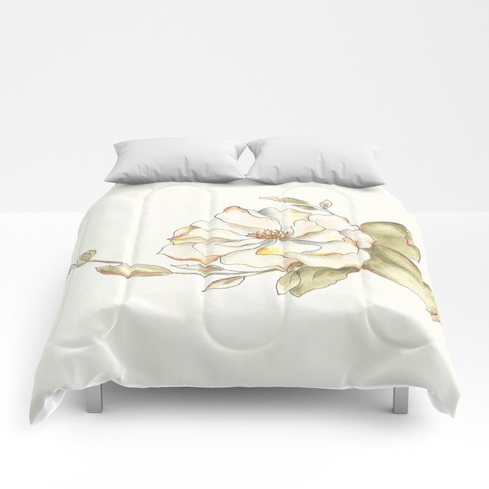 Shrub Rose (white) Comforters