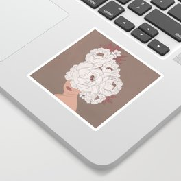 Woman with Peonies Sticker