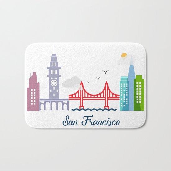 what a colorful city San Francisco, CA. v2. Bath Mat