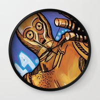 c3po Wall Clocks featuring C3PO 414 by Amanda Iglinski