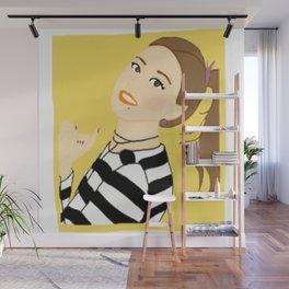 Knock Knock! Chaeyoung Yellow Wall Mural