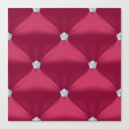 Abstract Red Violet Quilted Pattern with Little Diamonds Canvas Print