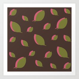Green pink leaves on brown Art Print