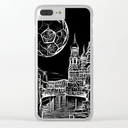 Football moon over russia Clear iPhone Case
