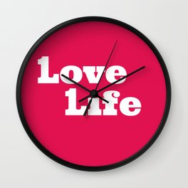 One Love, One Life, Love Life (red) Wall Clock