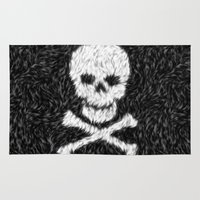 furry Area & Throw Rugs featuring Furry Skull & Bones by itsme23
