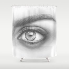Eye Art | Sexy Girl | Beauty | Model | Woman Face | Graphite Drawing| Pencil Black and White Art Shower Curtain