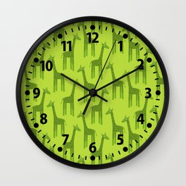 Giraffes-Green Wall Clock