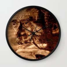Charles Bukowski - wood - quote Wall Clock