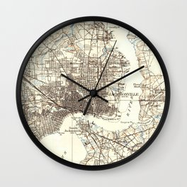 Vintage Map of Jacksonville Florida (1918) Wall Clock