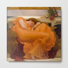 Flaming June Oil Painting by Frederic Lord Leighton Metal Print