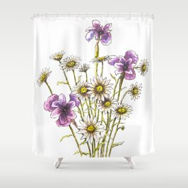 Iris and daisy flowers Shower Curtain