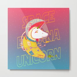 Space Banana Unicorn Metal Print