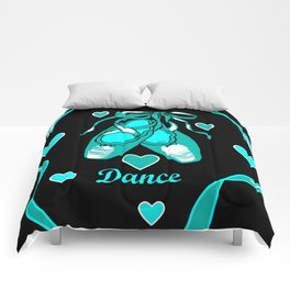 Love to Dance Teal Ballet Shoes Comforters