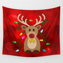Christmas Reindeer in Lights Wall Tapestry