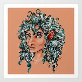 Female elf profile 1d ver. 2 Art Print