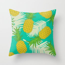 Tropical pineapple pattern Throw Pillow