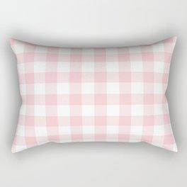 Large Valentine Soft Blush Pink and White Buffalo Check Plaid Rectangular Pillow
